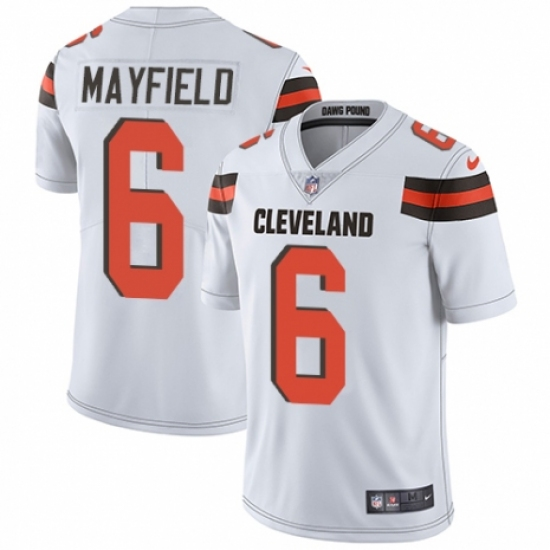 Men's Nike Cleveland Browns #6 Baker Mayfield White Vapor Untouchable Limited Player NFL Jersey