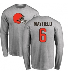NFL Nike Cleveland Browns #6 Baker Mayfield Ash Name & Number Logo Long Sleeve T-Shirt