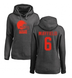 NFL Women's Nike Cleveland Browns #6 Baker Mayfield Ash One Color Pullover Hoodie