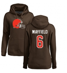 NFL Women's Nike Cleveland Browns #6 Baker Mayfield Brown Name & Number Logo Pullover Hoodie