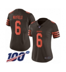 Women's Cleveland Browns #6 Baker Mayfield Limited Brown Rush 100th Season Vapor Untouchable Football Jersey