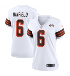 Women's Cleveland Browns #6 Baker Mayfield Nike White 1946 Collection Alternate Jersey