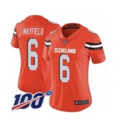 Women's Cleveland Browns #6 Baker Mayfield Orange Alternate 100th Season Vapor Untouchable Limited Player Football Jersey