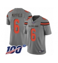 Youth Cleveland Browns #6 Baker Mayfield Limited Gray 100th Season Inverted Legend Football Jersey