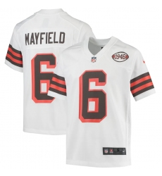 Youth Cleveland Browns #6 Baker Mayfield Nike White 1946 Collection Alternate Jersey