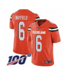 Youth Cleveland Browns #6 Baker Mayfield Orange Alternate 100th Season Vapor Untouchable Limited Player Football Jersey
