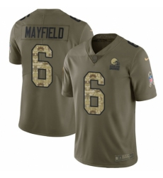 Youth Nike Cleveland Browns #6 Baker Mayfield Limited Olive Camo 2017 Salute to Service NFL Jersey