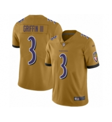 Youth Baltimore Ravens #3 Robert Griffin III Limited Gold Inverted Legend Football Jersey