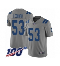 Youth Nike Indianapolis Colts #53 Darius Leonard Limited Gray Inverted Legend 100th Season NFL Jersey