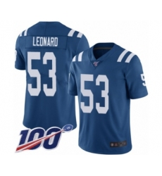 Youth Nike Indianapolis Colts #53 Darius Leonard Royal Blue Team Color Vapor Untouchable Limited Player 100th Season NFL Jersey