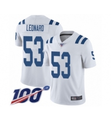 Youth Nike Indianapolis Colts #53 Darius Leonard White Vapor Untouchable Limited Player 100th Season NFL Jersey