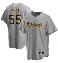 Men's Pittsburgh Pirates #55 Josh Bell Nike Gray 2020-21 Home Replica Player Jersey