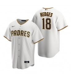 Men's Nike San Diego Padres #18 Austin Hedges White Brown Home Stitched Baseball Jersey