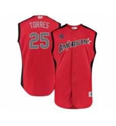 Men's New York Yankees #25 Gleyber Torres Authentic Red American League 2019 Baseball All-Star Jersey