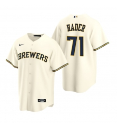 Men's Nike Milwaukee Brewers #71 Josh Hader Cream Home Stitched Baseball Jersey