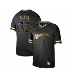 Men's Milwaukee Brewers #35 Brent Suter Authentic Black Gold Fashion Baseball Jersey