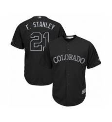 Men's Colorado Rockies #21 Kyle Freeland  F. Stanley  Authentic Black 2019 Players Weekend Baseball Jersey
