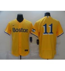 Men's Boston Red Sox #11 Rafael Devers Nike Gold-Light Blue 2021 City Connect Jersey