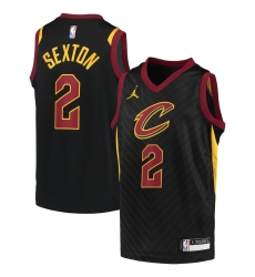 Youth Cleveland Cavaliers #2 Collin Sexton Jordan Brand Black 2020-21 Swingman Player Jersey
