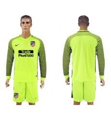 Atletico Madrid Blank Shiny Green Goalkeeper Long Sleeves Soccer Club Jerseys