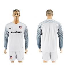 Atletico Madrid Blank White Goalkeeper Long Sleeves Soccer Club Jersey