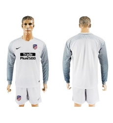 Atletico Madrid Blank White Goalkeeper Long Sleeves Soccer Club Jerseys