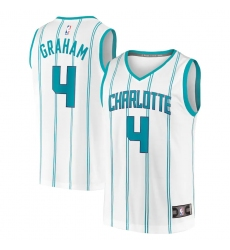 Men's Charlotte Hornets #4 Devonte' Graham Fanatics Branded White 2020-21 Fast Break Replica Jersey