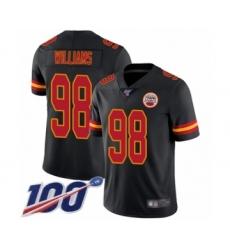 Men's Kansas City Chiefs #98 Xavier Williams Limited Black Rush Vapor Untouchable 100th Season Football Jersey