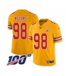 Men's Kansas City Chiefs #98 Xavier Williams Limited Gold Inverted Legend 100th Season Football Jersey