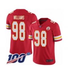 Men's Kansas City Chiefs #98 Xavier Williams Red Team Color Vapor Untouchable Limited Player 100th Season Football Jersey