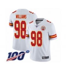 Men's Kansas City Chiefs #98 Xavier Williams White Vapor Untouchable Limited Player 100th Season Football Jersey
