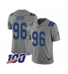 Men's Indianapolis Colts #96 Denico Autry Limited Gray Inverted Legend 100th Season Football Jersey