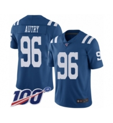 Men's Indianapolis Colts #96 Denico Autry Limited Royal Blue Rush Vapor Untouchable 100th Season Football Jersey