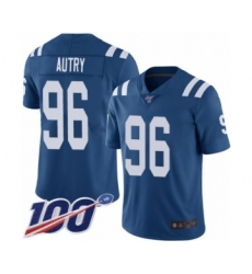 Men's Indianapolis Colts #96 Denico Autry Royal Blue Team Color Vapor Untouchable Limited Player 100th Season Football Jersey