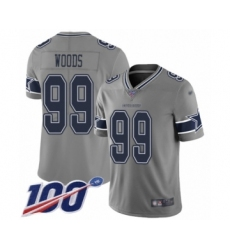 Men's Dallas Cowboys #99 Antwaun Woods Limited Gray Inverted Legend 100th Season Football Jersey