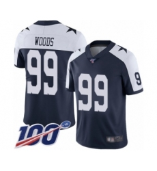 Men's Dallas Cowboys #99 Antwaun Woods Navy Blue Throwback Alternate Vapor Untouchable Limited Player 100th Season Football Jersey