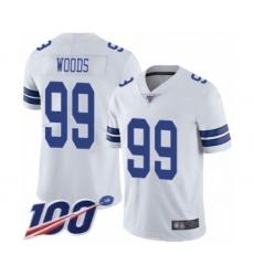 Men's Dallas Cowboys #99 Antwaun Woods White Vapor Untouchable Limited Player 100th Season Football Jersey