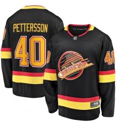 Men's Vancouver Canucks #40 Elias Pettersson Fanatics Branded Black 2019-20 Flying Skate Premier Breakaway Player Jersey