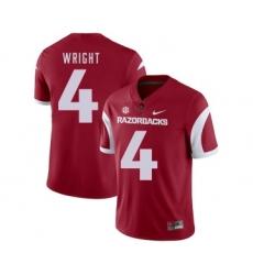 Arkansas Razorbacks 4 Jarius Wright Red College Football Jersey