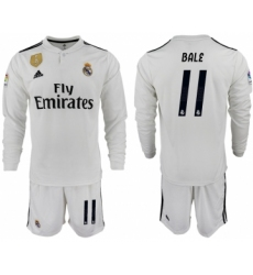 2018-19 Real Madrid 11 BALE Home Long Sleeve Soccer Jersey