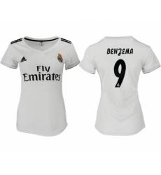 2018-19 Real Madrid 9 BENGEMA Home Women Soccer Jersey