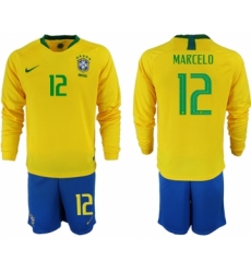 2018-19 Brazil 12 MARCELO Home Long Sleeve Soccer Jersey