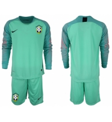 2018-19 Brazil Green Long Sleeve Soccer Jersey