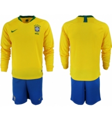 2018-19 Brazil Home Long Sleeve Soccer Jersey