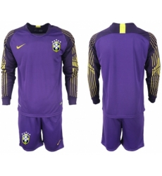 2018-19 Brazil Purple Goalkeeper Long Sleeve Soccer Jersey