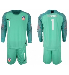 2018-19 USA 1 HOWARD Green Goalkeeper Long Sleeve Soccer Jersey