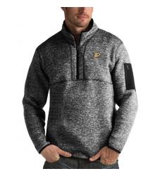 Men's Anaheim Ducks Antigua Fortune Quarter-Zip Pullover Jacket Charcoal