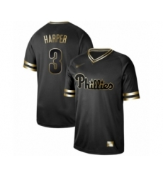 Men's Philadelphia Phillies #3 Bryce Harper Authentic Black Gold Fashion Baseball Jersey