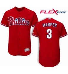 Men's Philadelphia Phillies #3 Bryce Harper Red Flexbase Authentic Collection Stitched MLB Jersey