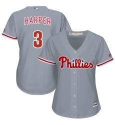 Women's Philadelphia Phillies #3 Bryce Harper Grey Road Stitched MLB Jersey